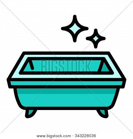 Clean Bathtub Icon. Outline Clean Bathtub Vector Icon For Web Design Isolated On White Background