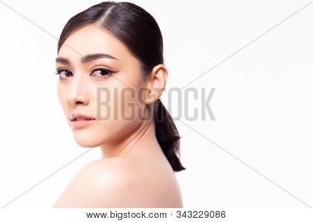 Pretty Asian Woman, Black Hair Horsetail, Big Eyes, Thick Eyebrows And Naked. Studio On White Backgr