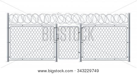 Wire Fence Or Chain Link Protection With Gate Or Wicket. Chainlink Construction For Police Or Prison
