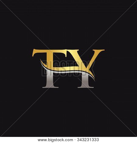 Gold And Silver Letter Ty Logo Design With Black Background. Ty Letter Logo Design