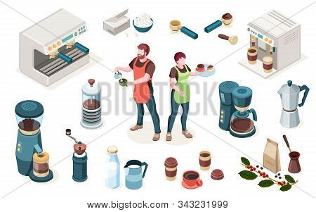 Coffeehouse Elements, Cafe Or Coffee Shop Barista Equipment And Tools, Vector Isometric Icons. Man B