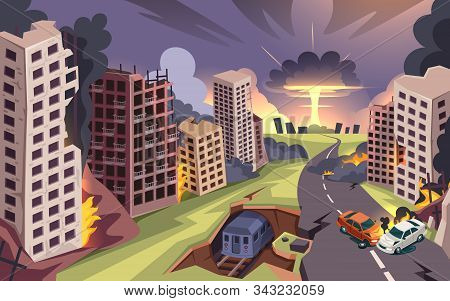 Ruined City From Nuclear Bomb Explosion, War Destroyed Buildings And Burning Cars, Vector Cartoon Ba