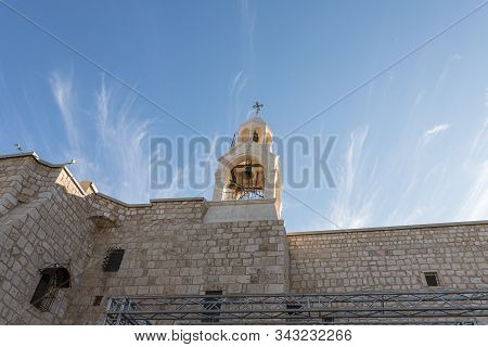 Jerusalem, Israel, December 28, 2018 : The Main Bell Tower Rises On The Roof Of The Church Of Nativi