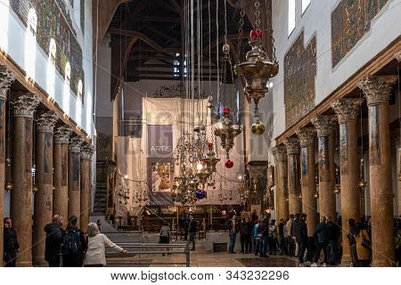 Jerusalem, Israel, December 28, 2018 : The Main Hall Of The Church Of Nativity In Bethlehem In Pales