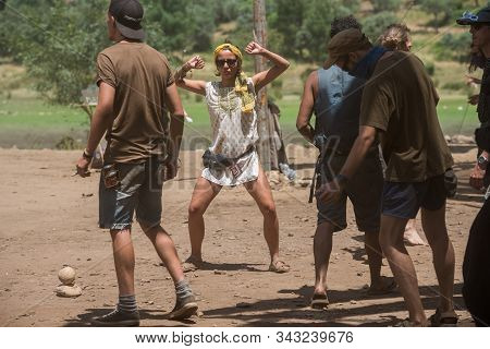 Riomalo De Abajo, Extremadura, Spain - July 15, 2018: A Woman Dances On The Main Stage Of The Lost T