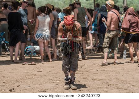 Riomalo De Abajo, Extremadura, Spain - July 15, 2018: A Very Tattooed Man With A Pirates Handkerchie