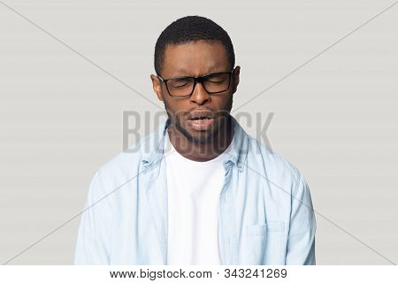 African Guy Crying Whining Feels Lonely Or Offended Studio Shot