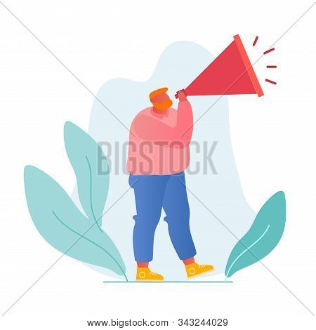 Online Public Relations And Affairs Concept. Man Shouting To Megaphone Or Loudspeaker. Alert Adverti