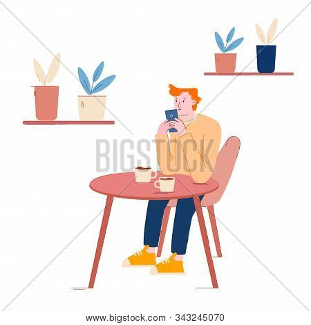 Young Man Visiting Cafe Using Free Wifi, Hospitality Concept. Male Character Sitting At Table Drinki