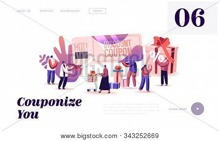 Sale And Using Discount Coupon Website Landing Page. Happy People Shopping Recreation, Buying Presen