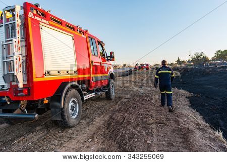 Caceres, Extremadura, Spain - 23, July 2016: Members Of The Fire Brigade Check The Area After The Fi