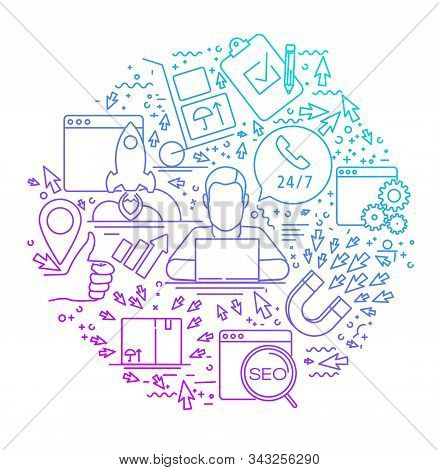 Modern Linear Concept Of Internet Marketing In Circle With Thin Line Icons. Internet Marketing. Seo.