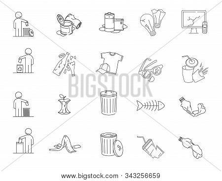 Modern Linear Pictogram Of Garbage. Set Of Concept Line Icons Garbage. Garbage Icons. Waste Garbage