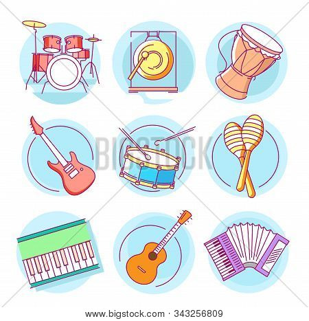 Modern Linear Pictogram Of Musical Instruments. Set Of Concept Line Icons Musical Instruments. Music