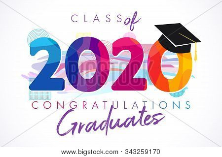 Class of 2020 year graduation banner, awards concept. T-shirt idea, holiday coloured invitation card, bright emblem. Isolated numbers, abstract graphic design template. Brush strokes, white background.