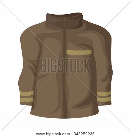 Vector Illustration Of Jacket And Fireman Symbol. Set Of Jacket And Clothing Vector Icon For Stock.