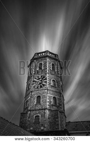 Long Exposure Black And White Fine Art Picture Of The Belfort In Menen, Belgium