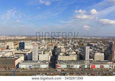 Warsaw, Poland - October 17, 2019: Aerial View Of The City, Marszalkowska Street, National Stadium (
