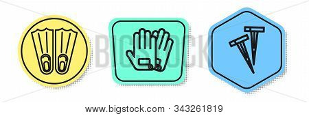 Set Line Rubber Flippers For Swimming, Gloves And Pegs For Tents. Colored Shapes. Vector