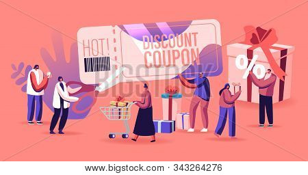 Sale Concept. Happy People Shopping Recreation. Male And Female Characters Buying Things And Present