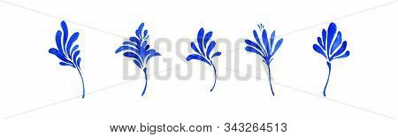 Set Of Blue Watercolor Simple Decorative Leaves, Botanical Collection. Hand Drawn Cute Small Flowers