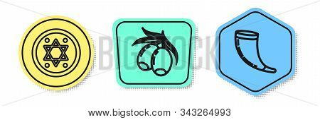 Set Line Jewish Coin, Olives Branch And Traditional Ram Horn, Shofar. Colored Shapes. Vector