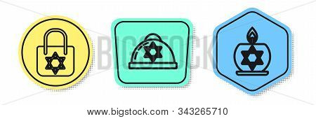 Set Line Shopping Bag With Star Of David, Jewish Kippah With Star Of David And Burning Candle In Can