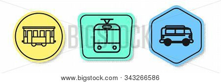 Set Line Old City Tram, Tram And Railway And Retro Minivan. Colored Shapes. Vector