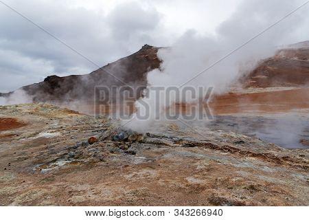 Myvatn Geothermal Area Hverir Namafjall In Northeast Iceland.