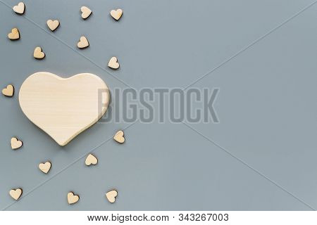 Mock-up Of A Wooden Heart For Decoupage On Valentines Day. Wooden Heart On A Gray Background With Co