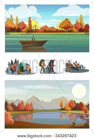 Set Of Young Tourists Hiking. Flat Vector Illustrations Of Family Resting At Nature. Outdoor Recreat