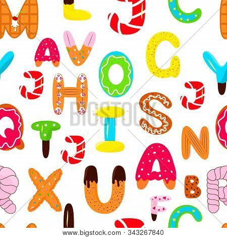 Seamless Pattern Of Colorful Isolated Letters. Background For Kids Products, Package, For Graphic De