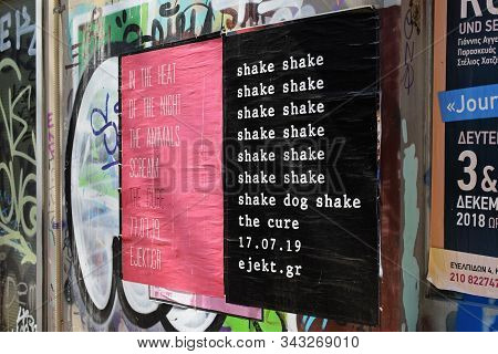 Athens, Greece - March 23, 2019: The Cure Alternative Rock New Wave Group Concert Posters With Lyric