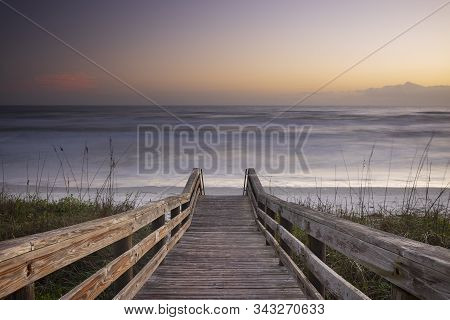 A Wood Pedestrian Bridge, Build Over A Sand Dune That Is Used To Give Beach Access In Daytona Beach,
