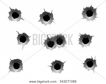 Bullet Holes. Realistic Bullet Traces, Circle Holes In Metal Wall. Military Shooting Range, Steel Ri