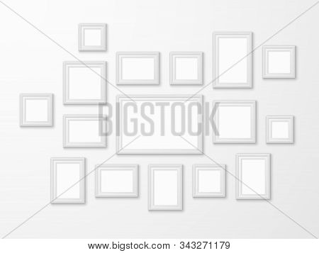 White Image Frames. Realistic Picture Frame In Different Forms Mockups, Art Gallery Blank Framing Te