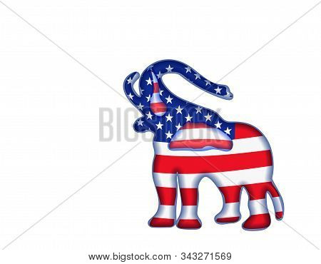 Us Presidential Election Until 2020. Republican Party. Balloons. Elephant In Flag Color. Illustratio