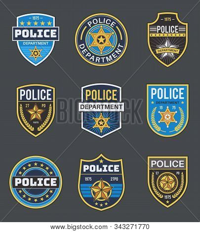 Police Labels. Policeman Law Enforcement Badges. Sheriff, Marshal And Ranger Logo, Police Star Medal