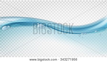 Water Surface. Blue Ocean Wave, Liquid Motion, Splashes And Water Bubbles In Swimming Pool, Clear Ec