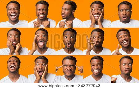 Different Emotions Collage. African American Guy Grimacing Expressing Series Of Negative And Positiv