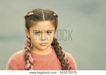 Suspicious Look. Girl With Braided Hair Style Pink Kanekalon. Hairdresser Salon. Braided Cutie. Litt