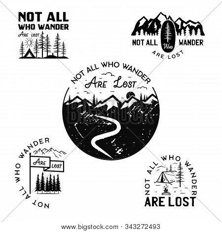 Vintage Camp Logos, Mountain Badges Set. Hand Drawn Travel Expedition, Wanderlust Labels Designs. No