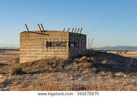 Denver, Colorado / Usa - Nov. 17, 2019 An Abandoned Chemical Test Bunker Slowly Decays At The Reclai