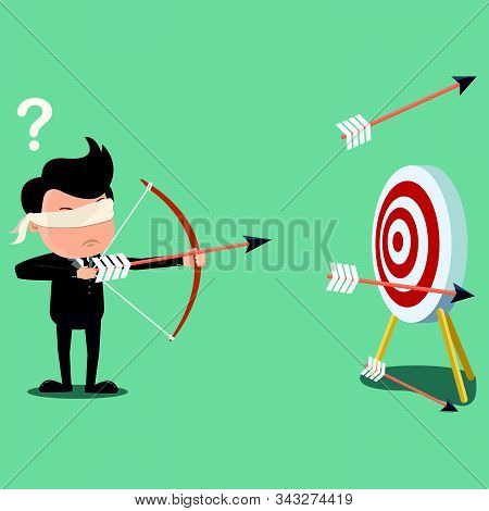 Blindfolded businessman shooting arrow , Business concept - vector illustration