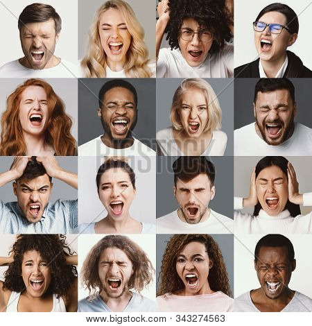 Angry People Screaming. Set Of Diverse Men And Woman Shouting, Negative Emotions And Feelings.