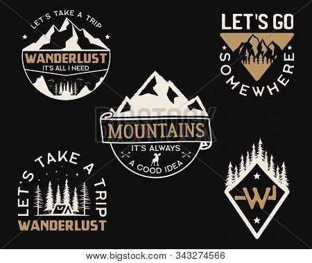 Vintage Mountain Camp Logos, Adventure Badges Set. Hand Drawn Labels Designs. Travel Expedition Insi