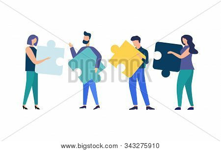 Business Concept People Connecting Puzzle Elements. Team Metaphor. Vector Illustration Flat Style Sy