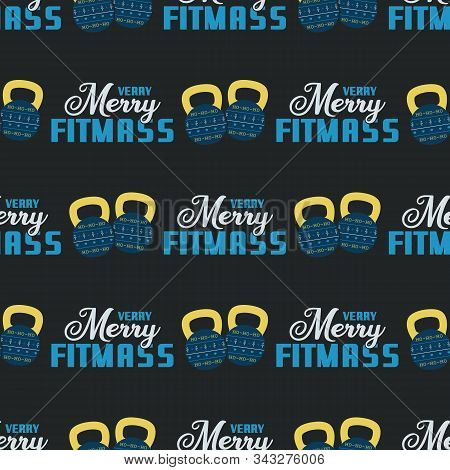 Merry Fitmass Seamless Pattern, Graphic Print For Ugly Sweater Xmas Party, Decoration With Barbell A