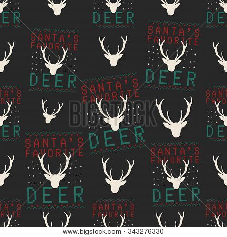Funny Christmas Seamless Pattern, Graphic Print For Ugly Sweater Xmas Party, Decoration With Deer He