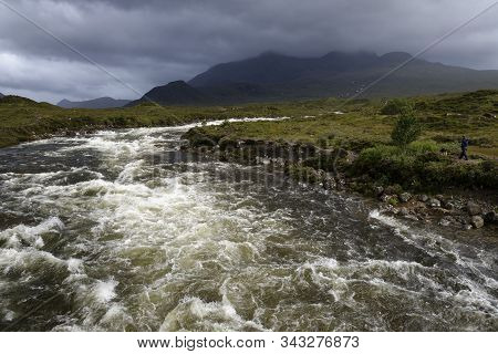 River Sligachan In Spate With Glen Sligachan And Cuillin Hills From Sligachan Old Bridge, Isle Of Sk